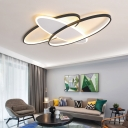 Rectangle/Oval Flush Mount Ceiling Light Minimalist Metal and Acrylic Led Living Room Lighting, 19.5
