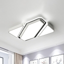 Geometric Flushmount Light with Acrylic Diffuser Contemporary Metal Led Flush Ceiling Light in White, 25.5