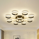 Multi Ring Flush Mount Light with Sputnik Design Modernism Metal 7/9 Lights Indoor Flush Lamp in Black