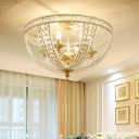 Gold Bowl Semi Flush Ceiling Light Vintage Triple Light Semi Flush Lighting for Living Room
