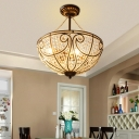 Loft Style Bowl Semi Flush Lighting Metal and Clear Crystal 4 Lights Semi Flush Chandelier in Bronze