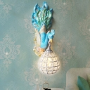 Blue Peacock Wall Sconce Light with Crystal Globe Light 1 Light Resin Indoor Wall Lamp for Bedroom