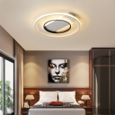 Warm/White Light Circle Flush Mount Light Modern Acrylic 2 Bulbs Black-White Close to Ceiling Light, 16