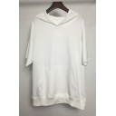 Mens Simple Fashion Solid Color Half Sleeve White Hoodie with Pocket