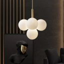 5/13 Lights Bubble Chandelier Lighting Vintage Frosted Glass Hanging Pendant Light in Brass