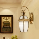 1 Head Lantern Sconce Light Clear Dimple Glass Traditional Wall Mount Lighting for Porch