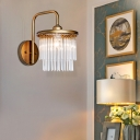 1/2 Lights Drum Wall Mounted Light with Crystal Beads/Sticks Rustic Vintage Wall Lamp in Aged Brass