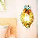 Peacock Wall Sconce Country Style 1 Light Wall Lamp with Dome Crystal Shade in Yellow for Bedroom