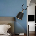 Black/White Cone Wall Mount Light with Antler Decoration Rotatable 1 Light Metal Mini Wall Lamp