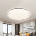 Scalloped Round Flush Lighting Modern Acrylic Led White Flush Mount Ceiling Light in White/Neutral/Warm