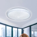 Modern Integrated Led Flush Lighting with Round Acrylic Shade White Flushmount Lamp in White/Neutral/Warm