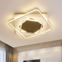Black and White Squared Flush Lighting Modernism Metal Led Living Room Ceiling Light, White Light