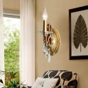 Conic Wall Mounted Light with/without Shade Country Metal 1 Bulb Sconce Light in Gold for Bedroom
