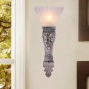 Carved Arm Wall Mount Light with Frosted Glass Shade Country 1 Bulb Sconce Light in Silver