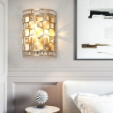 2 Lights Half Cylinder Wall Mount Lighting Colonial Metal and Clear Crystal Wall Lamp in Gold