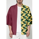 Japanese Style Check Pattern Open Front Cardigan Casual Kimono Jacket