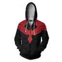 Popular Movie Character Cosplay Costume Red and Black Zip Up Hoodie