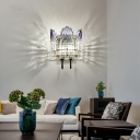 Scalloped Crystal Wall Mount Fixture Modernist 2 Lights Wall Sconce with Metal Backplate in Clear