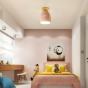 1 Light Oval Semi Flush Mount Lighting Modern Metal Semi-Flush Ceiling Light in Pink/Yellow/Green for Bedroom