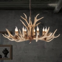 8/12/24/28-Head Antlers Hanging Lamp with Candle Countryside Resin Chandelier Light Fixture in Light Brown