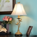 Country Table Lighting with Bell Fabric Shade Single Head Bedroom Table Lamp with Switch