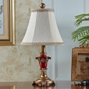 Bell Standing Table Light with White Fabric Shade 1-Light Traditional Table Lighting for Study Room