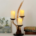 Led Candle Table Light with Antlers Resin Country Style 3 Lights Battery Powered Table Lamp