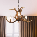 3/5/6/8/12 Lights Candle Pendant Light Fixture with Antlers Modernist Resin Ceiling Chandelier with Chain in Khaki