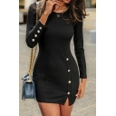 Ladies Sexy Plain Long Sleeve Button Decoration Split Side Slim Fit Mini Bodycon Dress