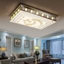 Faceted Crystal Moon and Star Flush Light Modernism Led Living Room Flushmount Light in Chrome