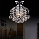 Polished Chrome Flushmount Lighting with Clear Crystal Ball Contemporary 1 Light Mini Flush Lamp