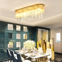 Linear Flush Mount Ceiling Light Contemporary Clear Crystal Led Ceiling Flush Light in Gold, 23.5