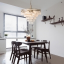 Layered Hanging Pendant Light with Frosted Crystal 6 Lights Suspension Lamp in Antique Silver
