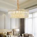 Clear Crystal Drum Hanging Lamp 6/8 Lights 19.5