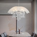 Contemporary Crystal Pendant Chandelier Glass and Metal 4 Heads Hanging Light Fixture in White