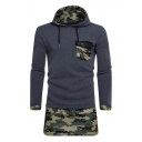 Camouflage Panel Chest Flap Pocket Long Sleeve Longline Casual Hoodie