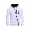Plain Oblique Zipper Design Long Sleeve Drawstring Hoodie with Zip Pocket