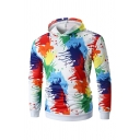 Colorful Splatter Painting Long Sleeve Hooded  Hoodie with Pocket