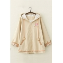Cute Fox Letter Embroidery Long Sleeve Zip Up Longline Casual Jacket Coat