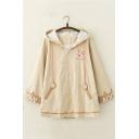 Cute Fox Letter Embroidery Long Sleeve Zip Up Longline Casual Jacket Coat