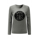 Girl BASIC WITCH Logo Printed Long Sleeve Round Neck Gray Fitted T-Shirt