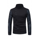 High Collar PU Leather Panel Oblique Zipper Pull Over Sweatshirt