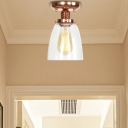 Copper Semi Flush Mount Light Aged Metal 1 Head Semi-Flush Mount with Glass Shade for Bedroom