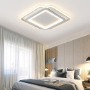 Modern Ultra Thin Ceiling Light with Square/Rectangle Shade Metal Integrated Led Gray Flushmount Light