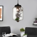 Cylinder/Globe/Oval Pendant Lighting Rustic Modern Clear Glass 1 Light Suspension Lamp in Black