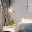 1 Light Bowl Sconce Light Clear Closed Glass Modernism Brass Wall Light Fixture for Bedside