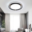Ring Flush Mount Ceiling Light Modern Acrylic Round Ceiling Fixture with Wood in Black/White/Grey