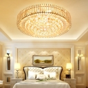 Modern Round Flush Ceiling Light with Clear Crystal Ball 12