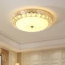 Modern Bowl LED Ceiling Light Metal and Glass Flushmount Light in White for Hotel Living Room