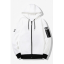 Mens Cool Fashion Letter Patched Zip Pocket Embellished Long Sleeve Casual Sports Zip Up Hoodie